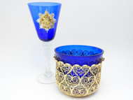 Gift Set Filigree Bowl and Cobalt Wine Glass