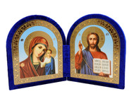 Christ the Teacher and the Virgin of Kazan Diptych Icon - Blue