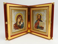 Christ the Teacher and the Virgin of Kazan Icon in Elaborate Diptych