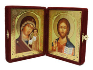 Christ the Teacher and the Virgin of Kazan Velvet Diptych