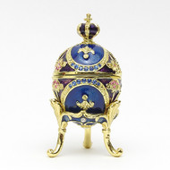 Mini Romanov Royal Blue Egg Box with Crown
