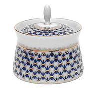 Cobalt Net Jam or Jelly Serving Jar