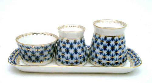 Cobalt Net Spices Serving Set