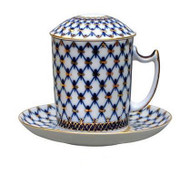 Cobalt Net Mug and Saucer with Lid