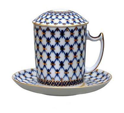 Cobalt Net Mug and Saucer with Lid