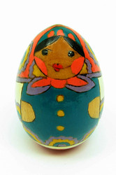 Pastel Egg Maiden with Russian folk art motifs front view