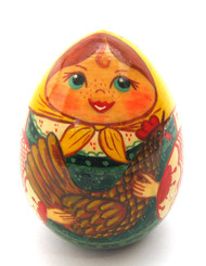 Easter Egg Little Girl with Rooster (Девочка с петушком) front view