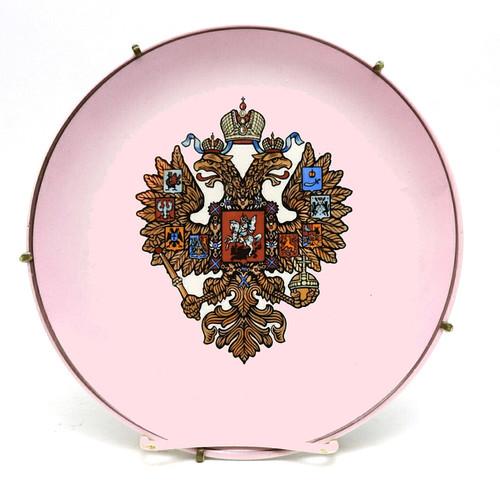 Double-headed Eagle on a mauve colored porcelain plate