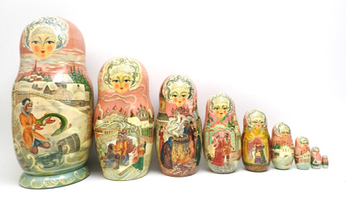 """By the Pike's Wish"" (""По щучьему веленью"") Artistic Russian Matryoshka Doll"