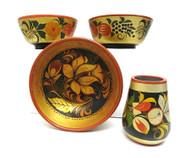 A Group of Three Khokhloma Bowls and a Small Vase (Хохломская посуда)