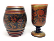 Group of vintage Khokhloma pieces including footed cup and a barrel box