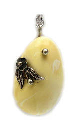 White Baltic Amber Pendant with Silver Chain