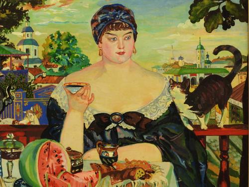 Merchant's Wife at Tea [Kustodiev] Genuine Painting