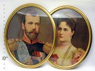 Tsar Nicholas II and Alexandra Lithograph Portraits