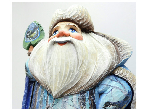 Grandfather Frost with Woodland Animals Painted Carving close-up