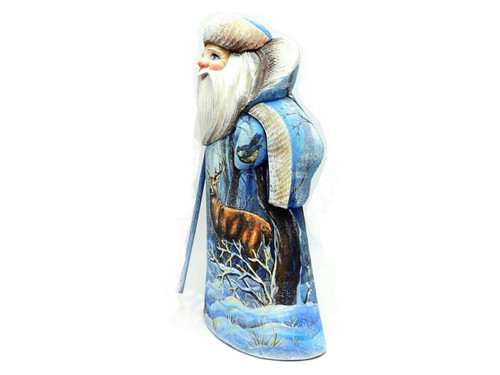 Grandfather Frost with Woodland Animals Painted Carving