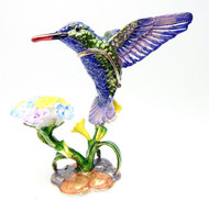 Hummingbird with Morning Glory Jewelry Box
