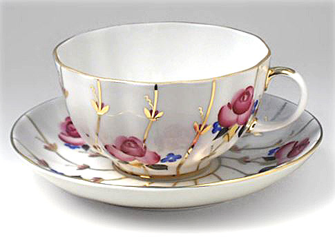 Antique Roses Teacup and Saucer