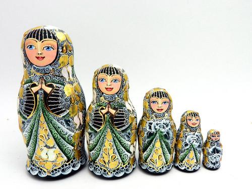 Golden Emerald Artistic Matryoshka Doll