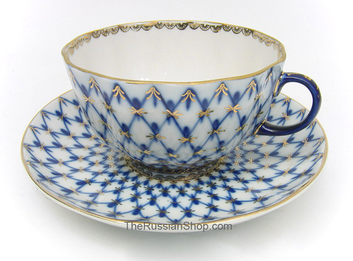 Cobalt Net Teacup and Saucer Lomonosov Porcelain