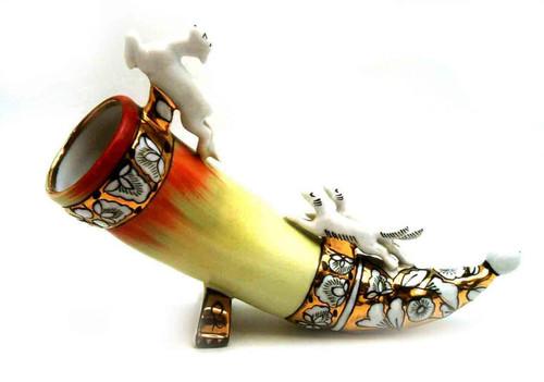 Hunter's Horn (Dogs Chasing a Deer) Kiev Porcelain