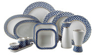 Deluxe Cobalt Net Dinner Set for 6 (31 pieces).