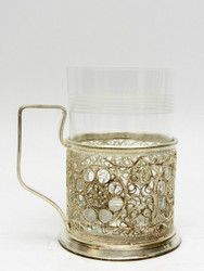 "Vintage Filigree Tea Glass Holder ""Catherine's Wheels"""