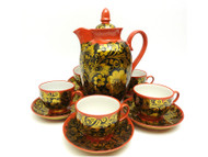 Porcelain Khokhloma Coffee Service for Six