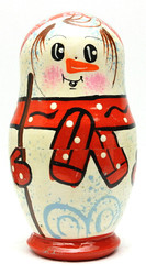 Snowman Nesting Doll Red