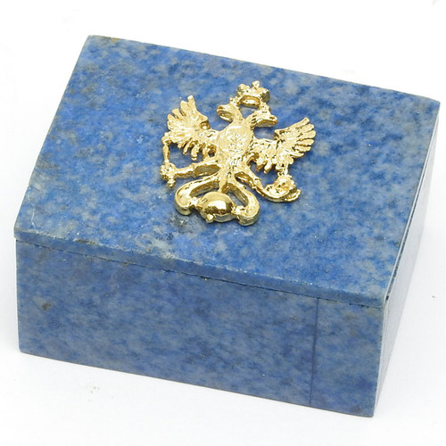 Mineral Sodalite Box with Russian Eagle