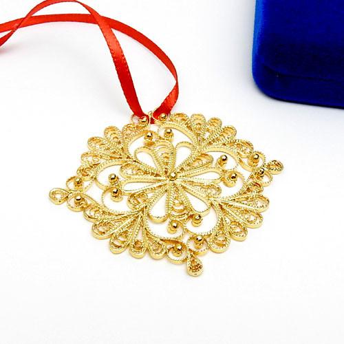 """Снежинка"" (SnowFlake) Russian Gold Plated Filigree Christmas Ornament"