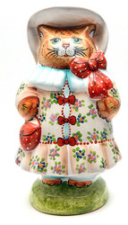 Cat on Easter Parade Ornamental Figure