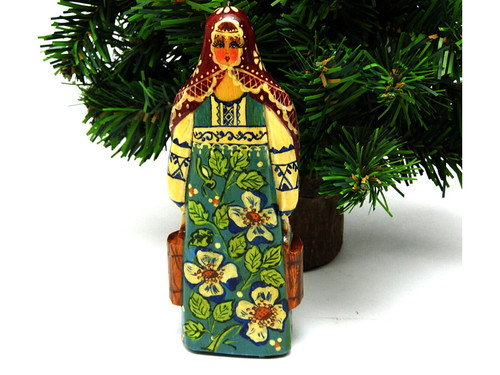 Maiden with Buckets carved ornament