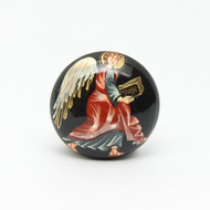 Russian Lacquer Button Brooch Angel with Gospel