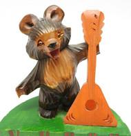 Bear with Balalaika Bogorodsk Carving