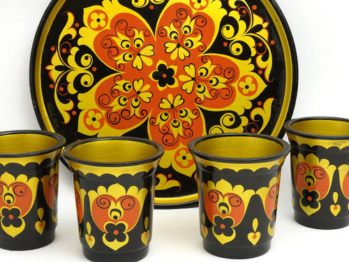 Vintage Matching Khokhloma Cups and Tray
