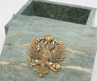Genuine Russian Marble Jewelry Box with the Russian Coat-of-Arms