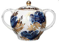Golden Garden Sugar Bowl from The Lomonosov Porcelain Factory in St. Petersburg, Russia