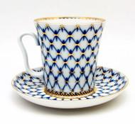 Cobalt Net Coffee Mug and Saucer