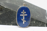 Silver Cross on Genuine Lapis Lazuli