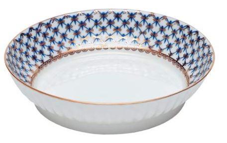 Cobalt Net Bone China Ruffled Serving Dish