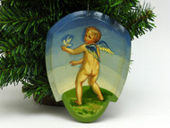 Russian Painted Christmas Ornament - Angel with Dove