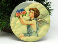 Russian Painted Christmas Ornament - Angel with Flowers