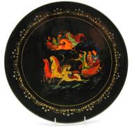 Palekh artist Lipetsk plate of two troikas
