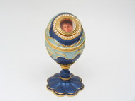 Blue and Gold Enamel Egg with Portrait of Tsarevich Alexei