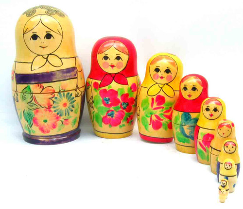 10-nest Kirov Matryoshka Doll opened up