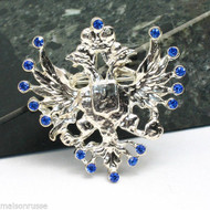 Gem Studded Double-Headed Eagle Brooch *Blue