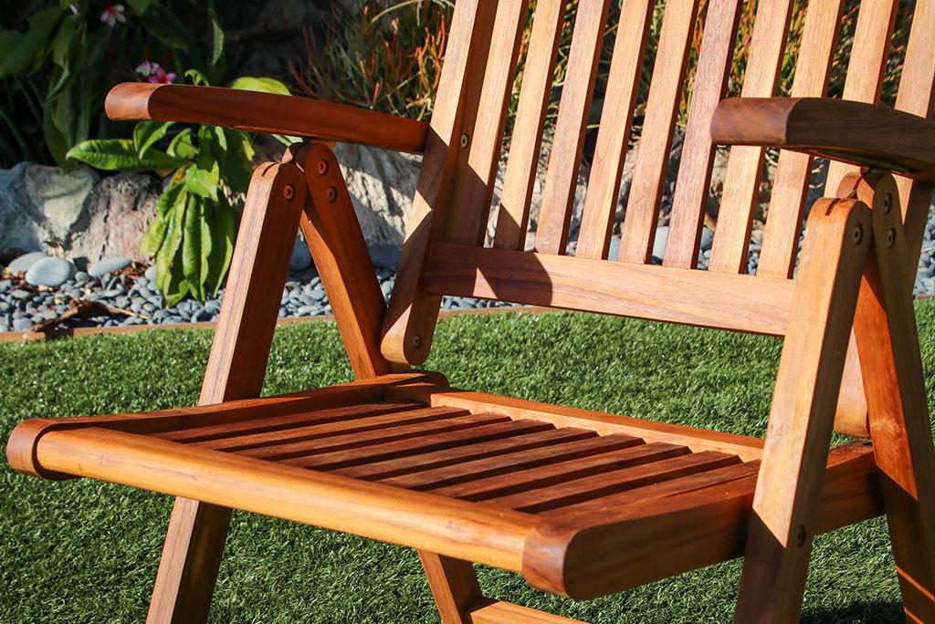 SeaTeak Avalon Folding Multi-Position Deck Chair w/arms- Oiled Finish