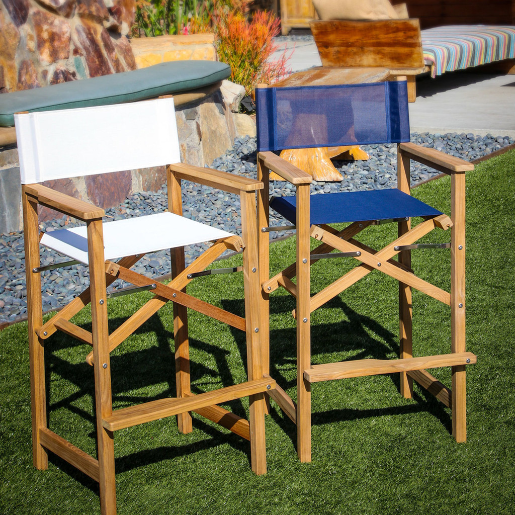Teak Captain's Chair (Available in Blue or White DURASLING Fabric)