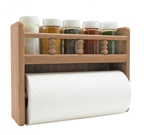 Teak Paper Towel Rack w/Spice